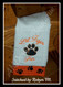 "Customer stitched example on a burp cloth using our Lara Font to spell ""Lil Tiger Fan""."