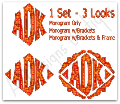 1 Set - 3 Looks ~ Monogram Only ~ Monogram w/Brackets ~ Monogram w/Brackets & Frame