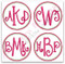 Examples of 3 Letter Monograms  with the Double Satin Stitch Circle Frame