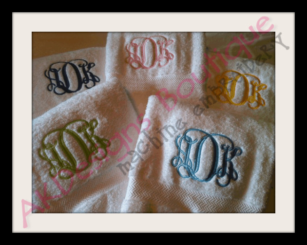 Entwined or vine letter monogram machine embroidery