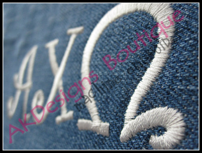 Close-up of sample stitched on denim