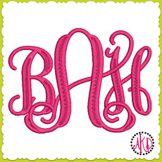 No 1366 Entwined or Vine 3 Letter Monogram Machine Embroidery Designs 5 inch high