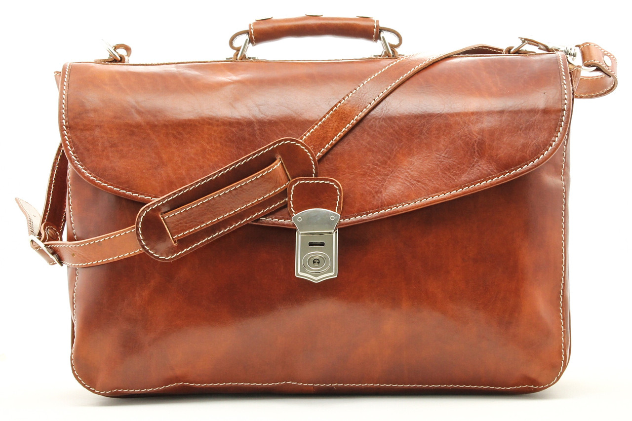ee1574d62efc Alberto Bellucci Mens Italian Leather Tuscany Triple Compartment Messenger  Briefcase
