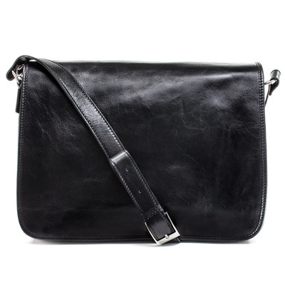 Milano Double Compartment Messenger Shoulder Bag in Black