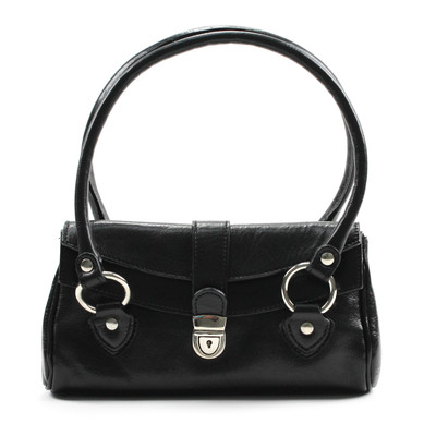 Luca Women's Italian Leather Handbag | Color Black | Front view