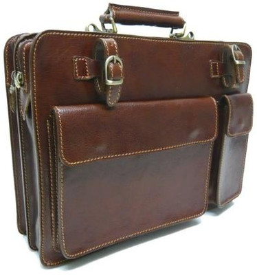 Amalfi Italian Leather Briefcase - Dark Brown - Angle View