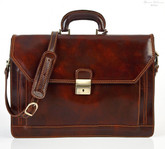 Capri Triple Gusset Flap Over Briefcase | Front With Strap | Color Brown