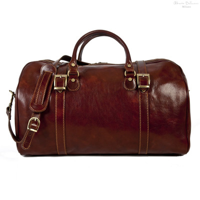 Torino Italian Leather Duffel Bag | Color Brown