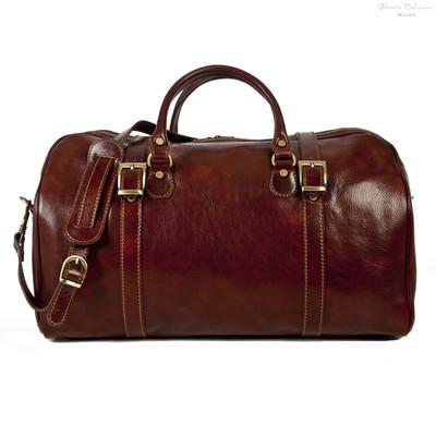 Torino Italian Leather Duffel Bag   Color Brown