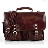 Parma Leather Messenger Bag | Front | Color Dark Brown