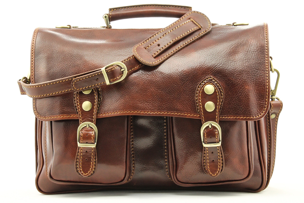 13852965ab7e Alberto Bellucci Mens Italian Leather Parma Express Messenger Laptop  Satchel Bag