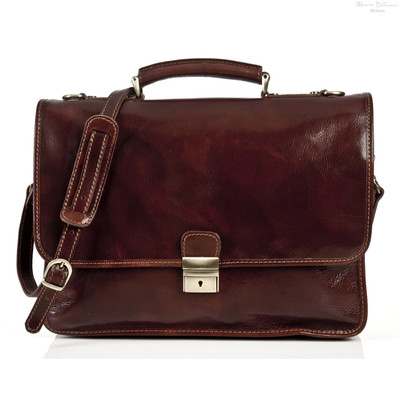 Padova Italian Leather Briefcase | Front with Strap | Color Brown