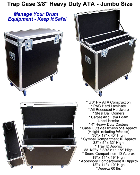 Trap Case For Drum Equipment 3 8 Quot Heavy Duty Ata Jumbo