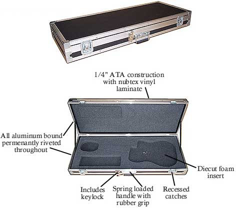 "ATA Guitar Case fits Fender Strat - Tele - Gibson Les Paul Generic Cutout Fits All Approximate OD 43"" x 16-1/2"" x 5"""
