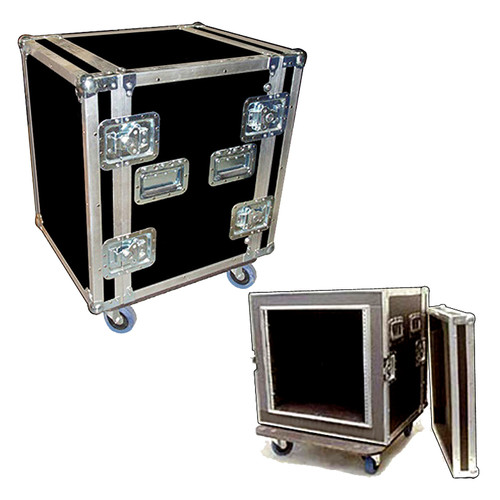 """3/8"""" Full ATA Shock Rack Case 16 Space 3/8"""" Plywood in and out 2"""" Foam lined 4"""" Casters 20"""" Deep including back lid 4 Catches Per Lid"""