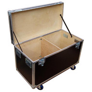 "Heavy Duty 3/8"" Plywood Extra High Cable Trunk 44-3/4"" x  22-1/4"" x 25"" High Fits 2 or 4 Wide in a Standard Truck Bare Wood Interior - 2 Compartments -  4"" Heavy Duty Caster Included"