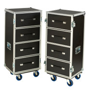 "Dual 4 Drawer 'BREAK APART' 3/8"" Ply ATA Work Case w/4"" Casters"