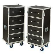 "Dual 4 Drawer 'BREAK APART' 3/8"" Ply ATA Work Case w/4"" Casters"