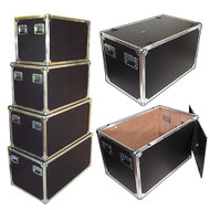 "New Design Latchless Flat Lid Trunks   3/8"" Plywood All Aluminum Bound Recessed Handles Bare Wood Interior"