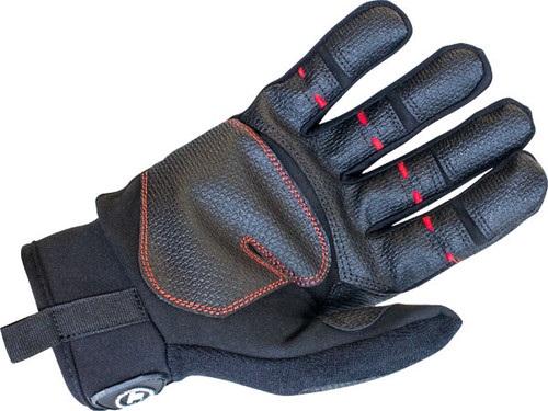 Detail of Rope and Rescue full-finger trade glove with textured and reinforced grip to allow continuos work flow.