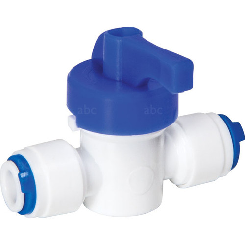 """WaterFed ® - Hose Fittings - abc - Push to fit - White Valve for 1/4"""" bypass line."""