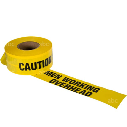 "Tape -- 3"" x 1000' - Barricade Tape - CAUTION MEN WORKING OVERHEAD - Each"