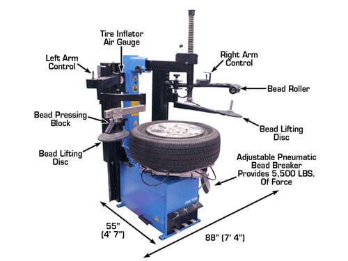 Atlas Tc289daa Dual Assist Arm Wheel Clamp Tire Changer W Bead Blaster
