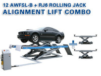 Atlas® Alignment Lift Combo - 12AWFSL-N Commercial Alignment Scissor Lift and (2) RJ-6 Rolling Jacks