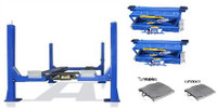 Combo Buffalo 14,000 Lbs  4 Post Alignment Lift FP14KO-A/RAJ-8K Open Front with  Pair of Rolling Bridge Jacks