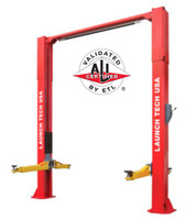 Launch TLT211-AS-R   RED 11,000 Lbs Clear Floor Asymmetric 2 Post Lift (ALI Certified) with Adjustable Column Height
