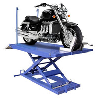 Buffalo M-1500C-HR Motorcycle lift shown with standard accessories