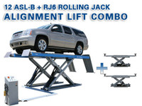 Atlas® Alignment Lift Combo - 12ASL-N Commercial Alignment Scissor Lift and (2) RJ-6 Rolling Jacks