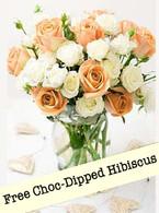 Peaches N Cream: Free Choc-Dipped Hibiscus