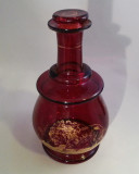 Ruby Stained Glass Carafe Bedside Decanter Gilt Lion