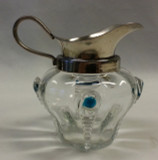 Stuart & Sons Blue and Crystal Peacock Eye Trails Creamer