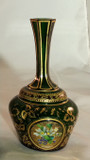 Moser Glass Bud Vase Raised Cabochon Hand Painted Posies Gilt