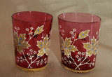 "Moser PR Cranberry Glass 2.5"" Cordials Tumblers Liquor Glasses Coralene"