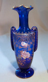 Art Nouveau Cobalt Blue Glass Handled Vase Polychrome Enamel Flowers Gilt