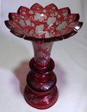 "19thC Ruby Cut To Clear 12"" Engraved Glass Vase Moser Era"