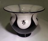 Loetz Ausfuehrung 177 Black Amethyst over Opal Glass Vase Enamel Flowe