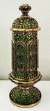 "Moser Glass 12"" Gilded Pokal Covered Jar Raised Cabochons Urn"
