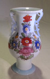1780s RARE Thüringen Milk Glass Enameled Vase Opaline Scroll Handles