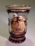 Bohemian Ruby Cut to Clear Glass Vase Gilt Figural Medallion
