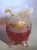 Antique Opaline Glass Cabinet Vase Enamel Bird Butterflies Ruby Flashed