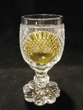 American Brilliant Period Cut Crystal Wine Goblet Amber Stained Medallion