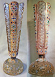 Bohemian Heavily Beaded Gilt Jeweled Cut Glass Paperweight Vase