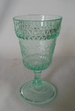 Wildflower Apple Green Early American Pattern Glass Goblet