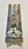 Antique Victorian Cased Glass Vase Artfully Enameled House Bird Flower