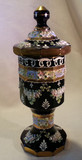 Moser Black Amethyst Glass Cut Panel Jar High Relief Flowers Gilded Enameled