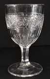 Forget Me Not in Scroll Early American Pattern Glass Goblet